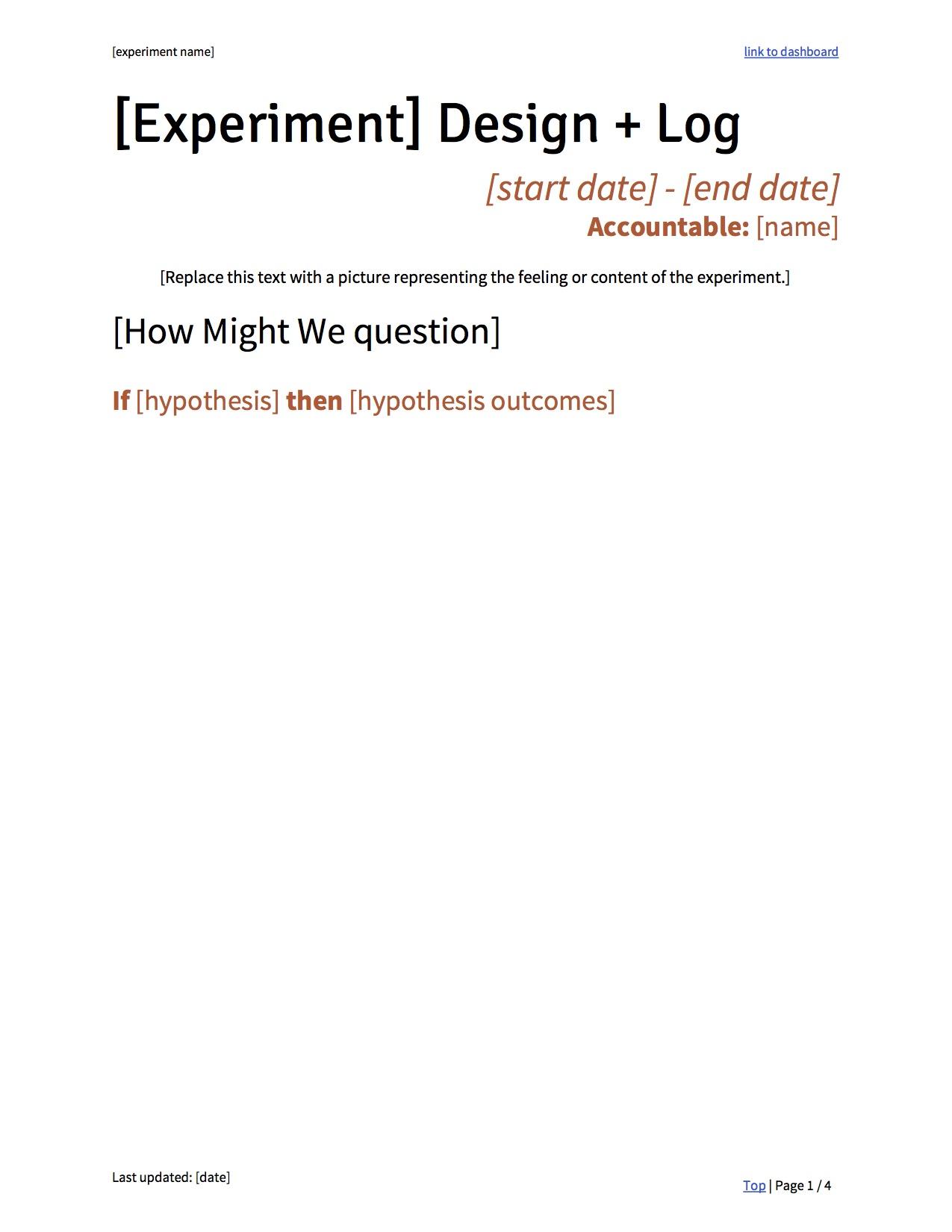 Experimentation Template: Design + Log
