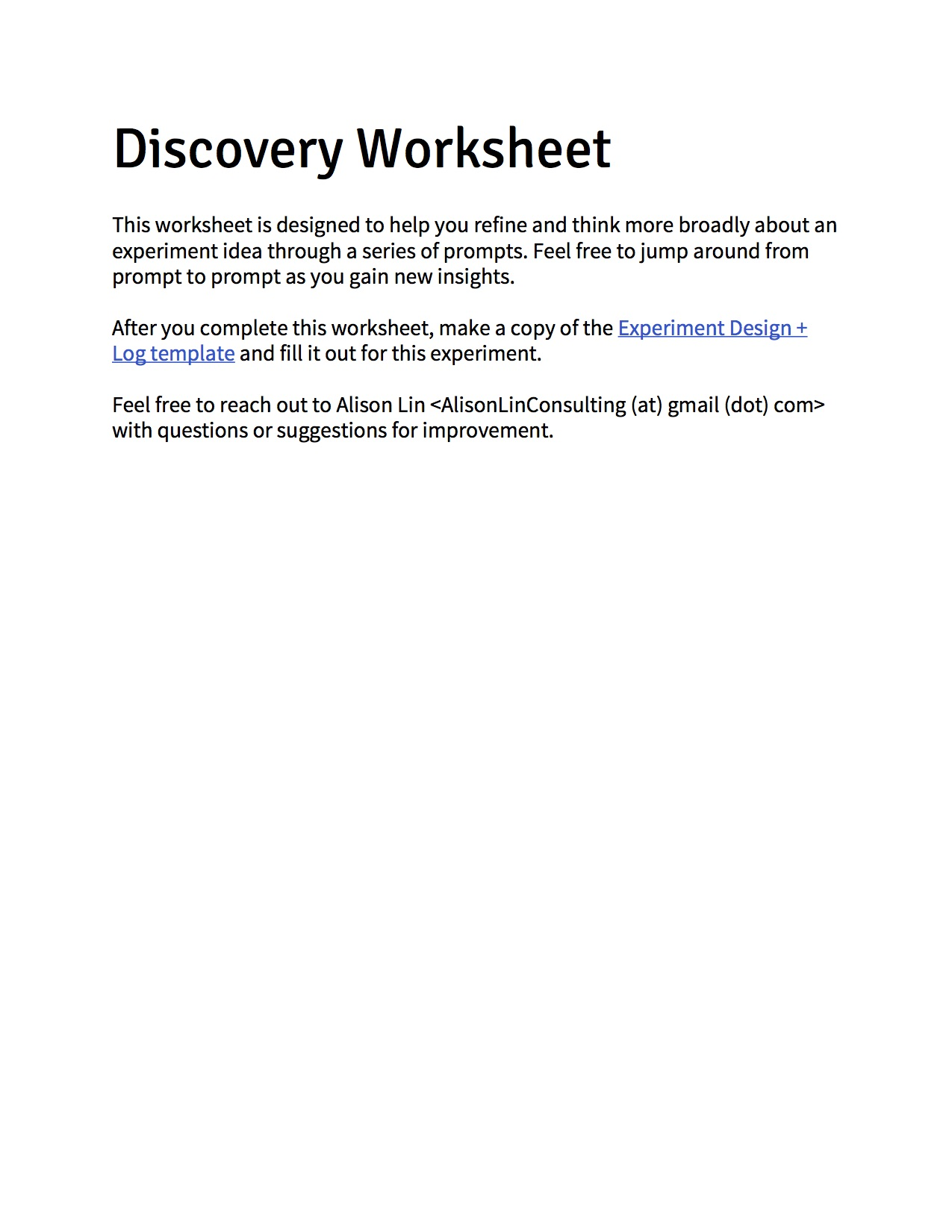Experimentation Template: Discovery